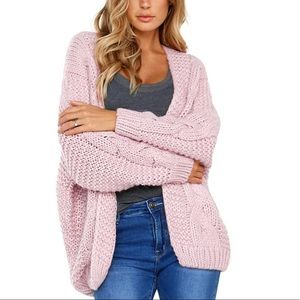 Chunky Cable Knit Pink Cardigan